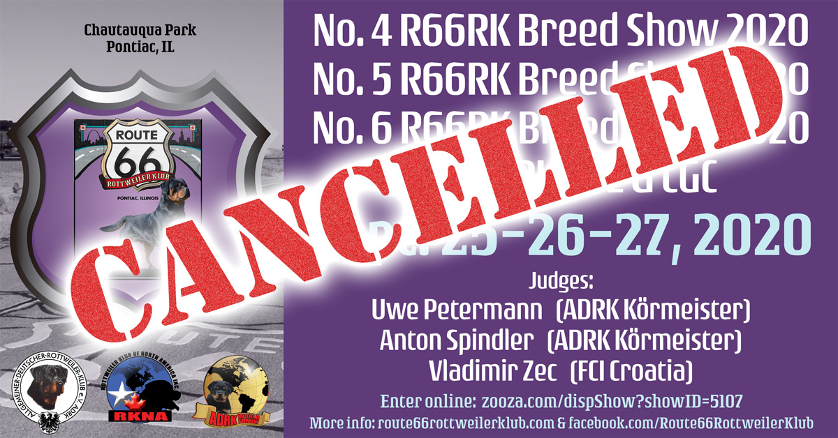September 2020 Sieger Show Cancelled